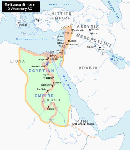 Map of the New Kingdom around 1450 BC