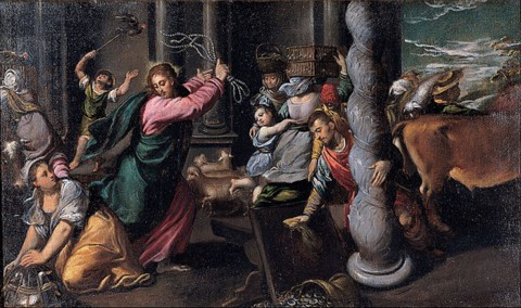 Jesus cleansing temple of money changers