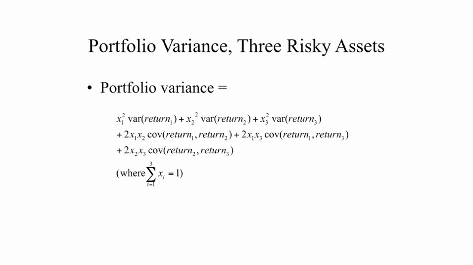 Portfolio variance for three risky assets