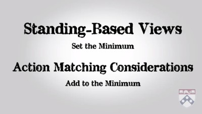 standing based views and action matching considerations