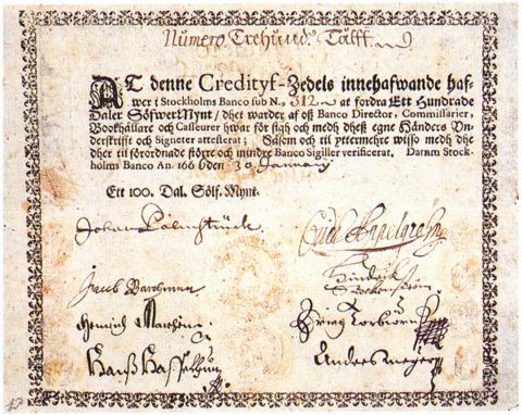 Swedish paper money from 1660